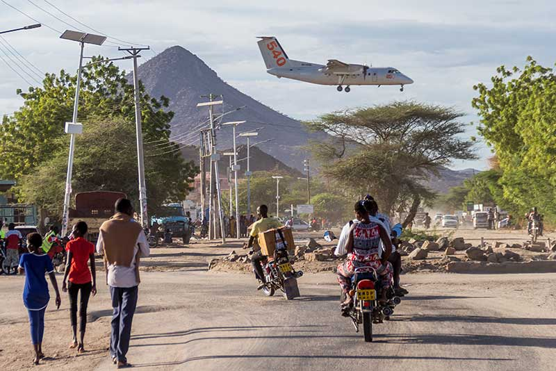 An airplane making its landing in the town of Lodwar, the capital of Turkana County, Kenya.