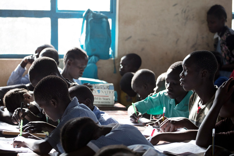 Students attend classes at the Kalobeyei Settlement Primary School in the town of Kalobeyei, Kenya. Among the students, 87 are from the host community while more than 5,600 are refugees.