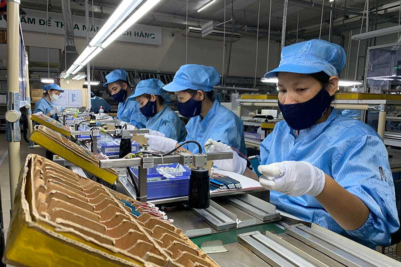 Workers for Hanel PT Limited Company at its factory in Bac Ninh province.