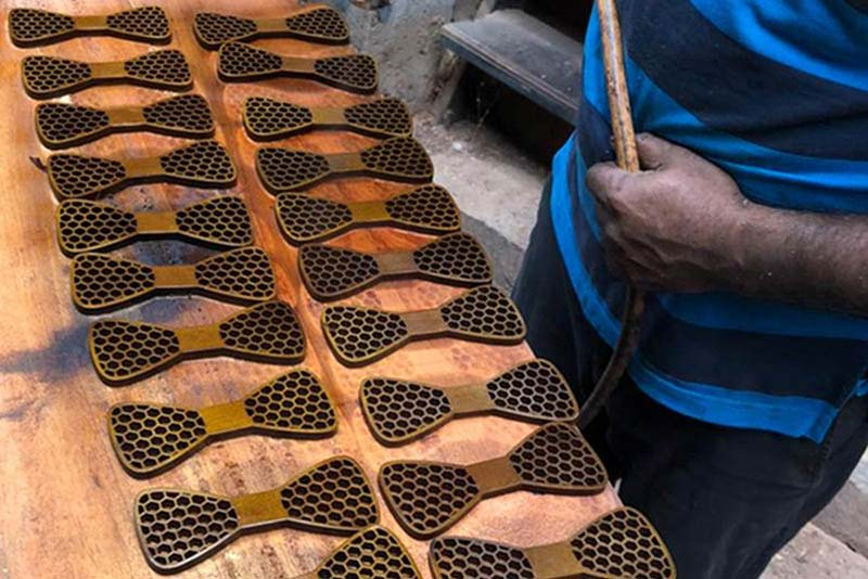Artisan wooden bow ties in the making at the Amberry workshop.