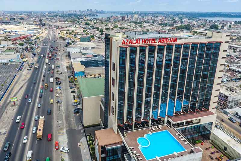 An aerial view of Azalai hotel in Abidjan, the biggest city and economic hub of Côte d'Ivoire.