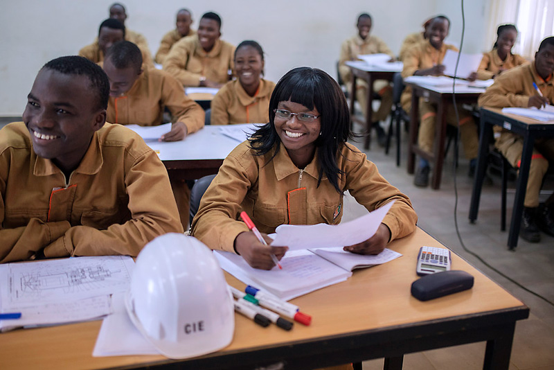 First year students at Center of the Trades Electricity school learn how to safely wire electricity, in Abidjan, Cote d'Ivoire.