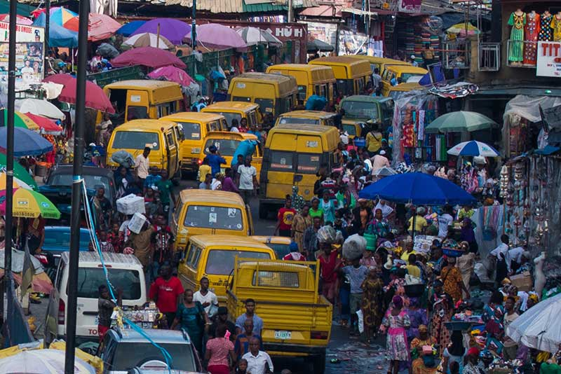 Small business owners in a trading hub in Lagos.