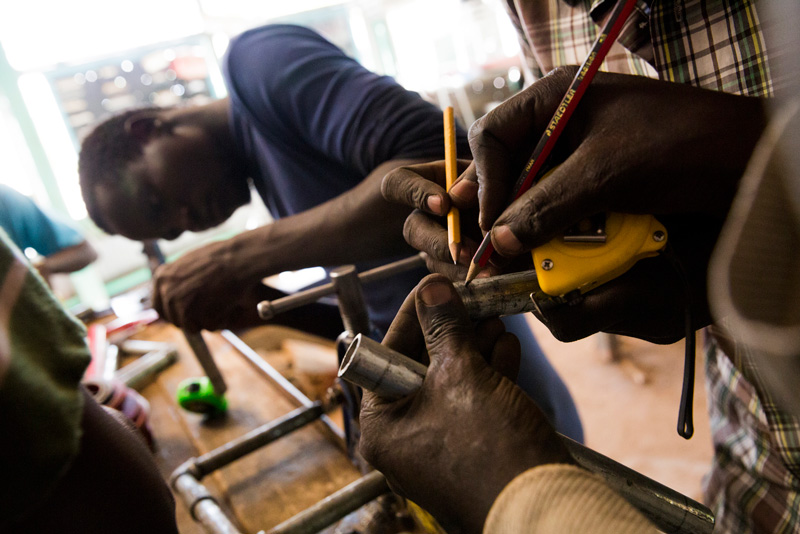 Refugees learn new skills as they take plumbing classes in the Kakuma Refugee Camp.