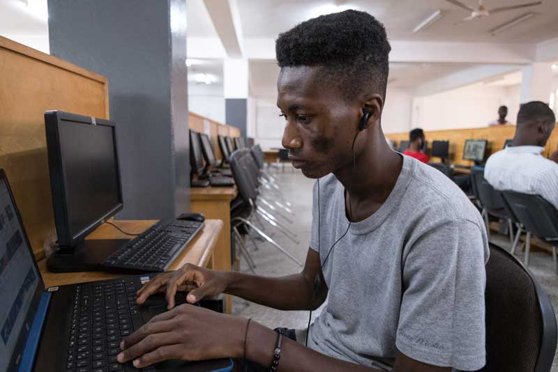 Students at University of Ghana's 90-seat computer lab have access to fast, dependable Internet.
