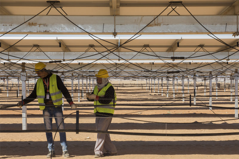 Workers are installing a total of 6.5 million solar panels in the site, which will soon be the world's largest solar park.